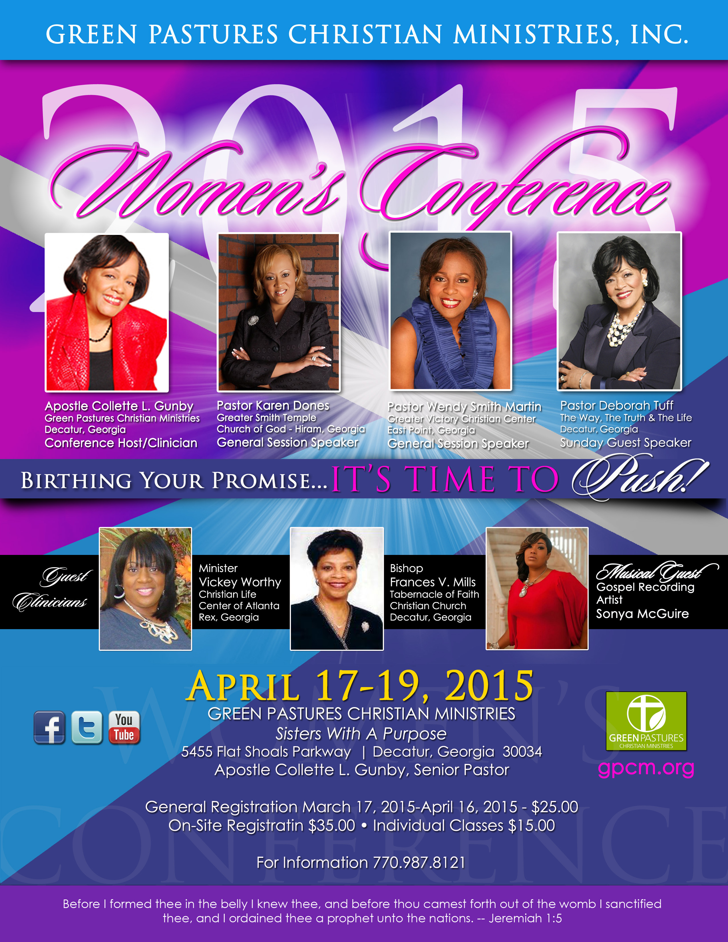 Green Pastures 2015 Women's Conference Flyer