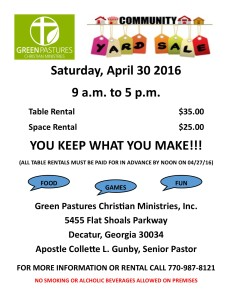 2016 Community Yard Sale Flyer